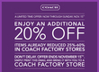Coach - Coach Outlet: Extra 20% off Printable Coupon