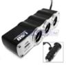 3-Outlet DC Power Car Charger Adapter w/ USB Port