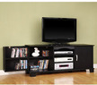 Black Wood TV Stand with Media Storage