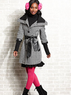 Jou Jou Three-Quarter Sleeve Houndstooth-Print Juniors Coat