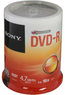 Sony 4.7GB 16X DVD-R 100 Packs Spindle