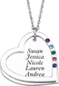 Sterling Silver Mother's Heart Name & Birthstone Necklace