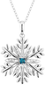 Blue Diamond Snowflake Pendant Necklace in Sterling Silver