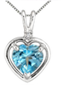 1.75 Carat Heart Shape Blue Topaz and Diamond Pendant