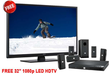JBL Cinema BD100 Blu-ray Home Theater System + 32 HDTV