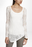 Women's Lace Stitch Asymmetrical Hem Tunic Sweater