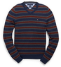 Men's Cotton Cashmere Stripe V-Neck Sweater