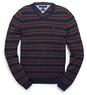 Men's Cotton Cashmere Stripe V-Neck Sweater