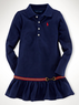 Ralph Lauren Girls' Long-Sleeved Equestrian Dress