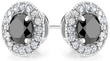 1 ct. Black Diamond & White Topaz Halo Stud Earrings