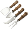 Wood-Handled Cheese Knives 4-Piece Set