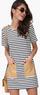 Women's Short Sleeve Faux-Leather Pocket Dress